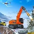 雪地挖掘机救援行动