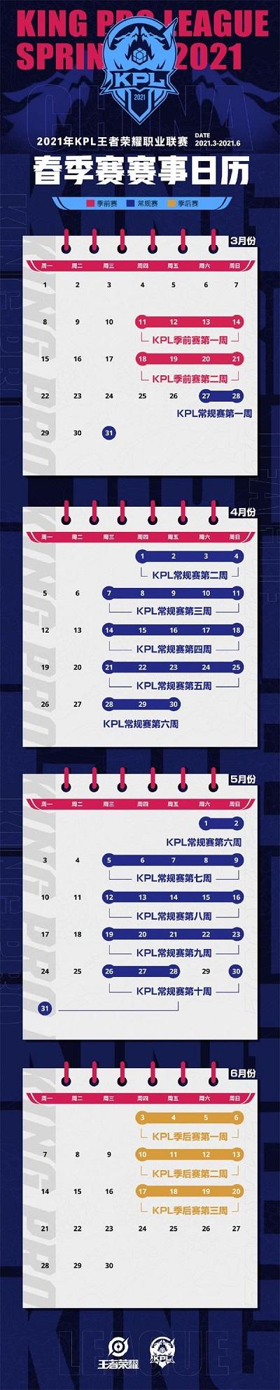 王者2021kpl春季赛赛程表